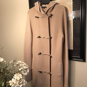 Lands' End tan hooded sweater coat , size